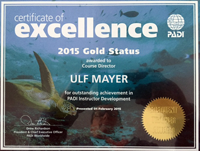 PADI excellence Gold Status