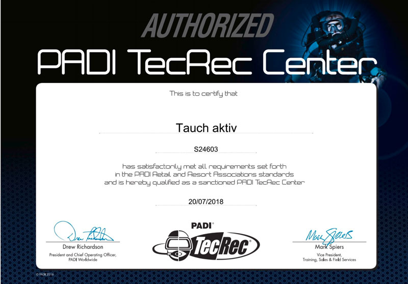 PADI TecRec Center Tauch aktiv